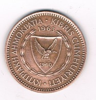 5 CENTS 1963 CYPRUS /2280/ - Chypre