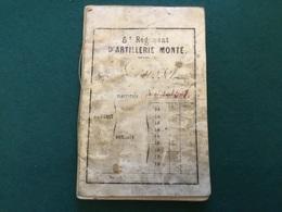 Livret Militaire 5°régiment D'artillerie Monte 1874 - Documents