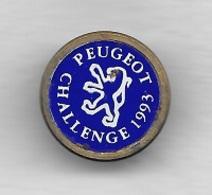 Pin's  Bouton ? Automobiles  PEUGEOT, CHALLENGE  PEUGEOT  1993  Recto  Verso - Peugeot