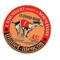 ETIQUETTE DE FROMAGE CAMEMBERT  NORMANDIE - MALLET ALENCON - LE LEVRIER ROUGE - NOV. 1953 - Fromage
