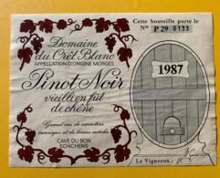 10107 - Pinot Noir  1987 Domaine Du Crêt Blanc Suisse - Etiquettes
