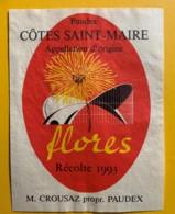 10116 - Paudex Côtes Saint-Marie Flores 1993  Suisse - Etiquettes