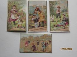 LE/AJ  - 4 Chromos Gremont-Allaire à La Roche Sur Yon : Le Jardinier, La Gardeuse D'oies , L'embarquement   -1890-1900 - Cromos