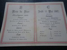 1 Petit Menu D'un Diner Du Jeudi 11 MAI 1882. - Menus