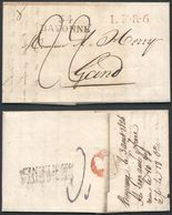 France Belgium 1826 Postal History Rare Stampless Cover + Content Bayonne 64 Gand DB.499 - France