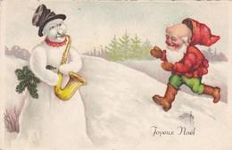 Joyeux Noël, Winter Scene, Snowman Playing Saxophone, Dwarf, Gnome (pk57161) - Kerstmis