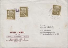 411 Heuss 3x 5 Fr. MeF Brief BOUS (SAAR) 27.5.58 Nach Welschbach - Germany