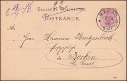 Postkarte P 12/02 Ziffer 5 Pf. DV 1285, Einkreis HANAU A - 6.4.1886 Nach Borken - Germania