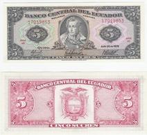Ecuador   P. 113c  5 Sucres 25.07.1979 HR 17019853 UNC - Ecuador