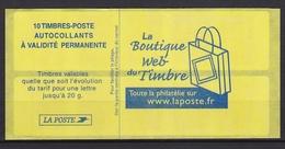 """Carnet N° 3744-C2 """" La Boutique Web Du Timbre  """" - Usage Courant"""