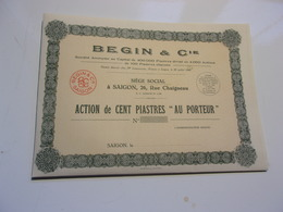 BEGIN & Cie (capital 400 000 Piastres) SAIGON,INDOCHINE - Non Classés