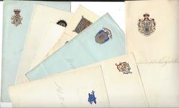 ARMOIRIES - Monogrammes Sur Cdv Et Papier à Lettres : Oznobichine Simmons Princesse Béatrix Comte De Paris  Non Identif - Cartes De Visite