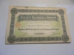 SUCRIERE D'ANNAM (priorité De 100 Francs) SAIGON,INDOCHINE - Aandelen