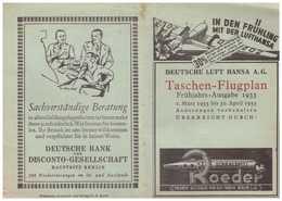Deutsche Luft Hansa A.G Taschen – Flugplan 1933 - Cartes