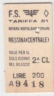 Biglietto Treno-Italy Italia - Treni