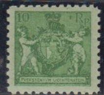 Liechtenstein 1921 Wappen 10Rp Perf. 9,5 ** Mnh (42184) - Liechtenstein