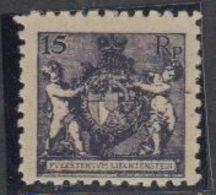 Liechtenstein 1921 Wappen 15Rp Perf. 9,5 ** Mnh (42184A) - Liechtenstein