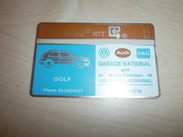 Télécarte Ancienne RTT   Publicité GARAGE NATIONAL SPRL  Golf Audi - Cars