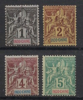 Indochine - 1892-96 - N°Yv. 3 - 4 - 5 - 6 - Type Groupe 1c / 2c / 4c / 5c - 4 Valeurs - Neuf Luxe ** / MNH / Postfrisch - Indochina (1889-1945)