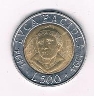 500 LIRE 1994 ITALIE /2282/ - 1946-… : République