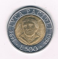 500 LIRE 1994 ITALIE /2282/ - 1946-…: Republik