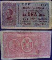 Italie Italy Italia 1914 Bon De Caisse Buono Di Cassa 1 Lira Victor Emmanuel III - [ 1] …-1946 : Koninkrijk