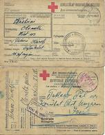 1917 - OLONEZ  KARELIEN , Rotes Kreuz, Kriegsgefangene Post, 2 Stk. - 1857-1916 Empire