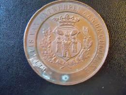 Ancienne Médaille De Table Bronze Ville De ANTWERPEN 1880 Signée M. MAUQUOI - Touristiques