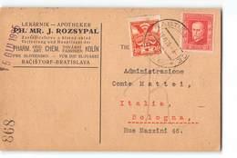 17113  PHARMACIST APOTHEKER ROZSYPAL RACISTORF BRATISLAVA TO BOLOGN ITALY - Tchécoslovaquie