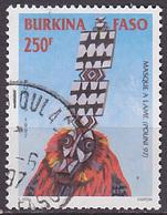 Timbre Oblitéré N° 1002S(Yvert) Burkina Faso 1997 - Masque De Singe - Burkina Faso (1984-...)