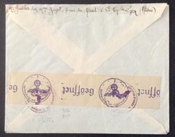 D115 Pétain 517 Paire + 514 «Geöffnet» Ouvert Par Oberkommando Wehrmacht Ste Foy Les Lyon 12/10/1943 - Marcophilie (Lettres)
