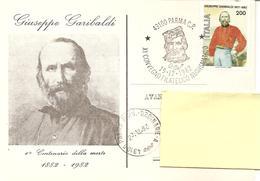 ITALIA - 1982 PARMA XI Convegno Fil. - 1° Cent. Morte GIUSEPPE GARIBALDI Su Cartolina Speciale - Storia