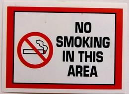 ''No Smoking In This Area'' - Sticker 1993 Jurassic Park - Vignettes Autocollantes