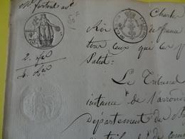1825 (Basses-Alpes) Deux Fois Timbres 75c + Compl. Tarif Potier (Alpes-de-Haute-Provence) - Cachets Généralité