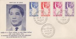 Enveloppe  FDC   1er  Jour   VIETNAM   Réinvestiture  Du  Président  NOG  DIN  DIEM   1961 - Viêt-Nam