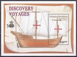 Grenada Grenadinen 1991 Entdeckungen Discovery Amerika Kolumbus Columbus Schiffe Ships Karavelle Pinta, Bl. 218 ** - Grenada (1974-...)
