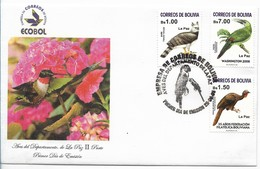 BOLIVIA 1995 BIRDS OF LA PAZ DEPARTMENT FIRST DAY COVER 3 VALUES ON FDC - Bolivia