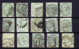 1880-81  G-B,  Half Penny  Queen Victoria,   15 X  Yv.  67 Ø, Cote 150 €, - 1840-1901 (Victoria)