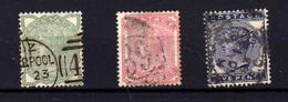 1880-81  Grande Bretagne,  Queen Victoria,   Yv. 67 – 70 - 71 Ø, Cote 245 €, - 1840-1901 (Victoria)