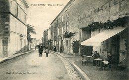Cpa 16 Montbron Rue Des Fossés --Hotel De France--écrite 1923--dv--animée - Autres Communes