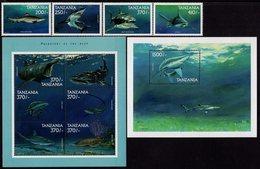 Tanzania - 1999 - Marine Life, Part II - Predators Of The Deep - Stamp Set + 2 Mint Sheetlets + 2 Souvenir Sheets - Tansania (1964-...)