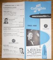 Prospectus 1956 Disques Columbia Charles Trenet - Pathé Marconi - Radio G Marconi Ets Nubar Paris - Music & Instruments