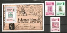 Hommage à Sir Rowland Hill. Série + Bloc-feuillet Neufs ** Des îles Solomons - Rowland Hill