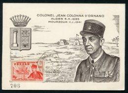 11898  FEZZAN  N° 50  C.M  15 F   : Colonel Jean Colonna D'Ornano   Cachet Héxagonal Sebha  Du 14.1.50  TB - Fezzan (1943-1951)