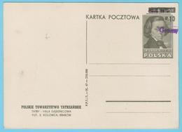 J.M.26 - Pologne - Entier Postal - N° 52 - F. Chopin - Compositeur - Musique