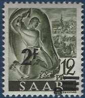 Sarre N°219** Papier Blanc Ancienne Valeur Non Barrée 2fr Décalé TTB - 1947-56 Occupation Alliée