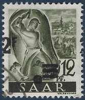 Sarre N°219 Oblitéré Papier Blanc Ancienne Valeur Non Barrée 2fr Décalé TTB - 1947-56 Occupation Alliée
