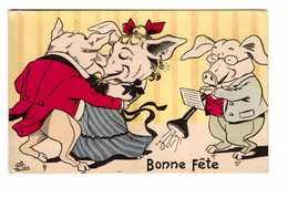 Cochon Cochons Illustration Illustrateur P. Lion Danse Musique Bal - Pigs