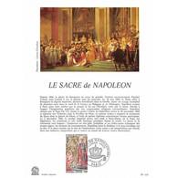 Encart Sur Papier Glacé - Le Sacre De Napoléon - 10/11/1973 Paris - Documents De La Poste