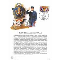 Encart Sur Papier Glacé - Brigades Des Douanes - 27/11/1976 Paris - Documents De La Poste